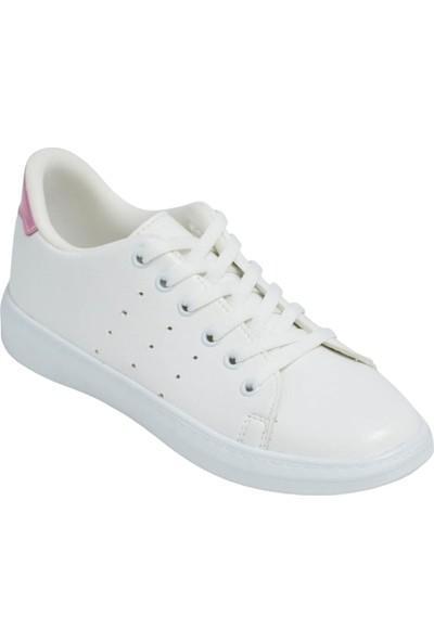 Kadın Spor Ayakkabı Beyaz Cilt Pembe