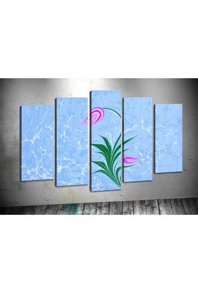 Tablocenter 5 Parçalı Çiçek Kanvas Tablo 60 x 100 cm