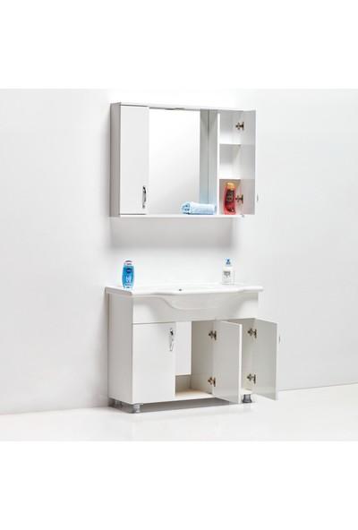 Hepsi Home Saydam Klasik 100 cm Mdf Banyo Dolabı Beyaz