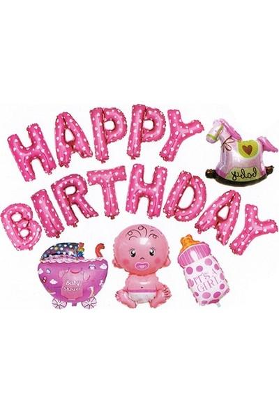Buldum Happy Birthday Buldum Folyo Harf Balon Seti Buldum Pembe