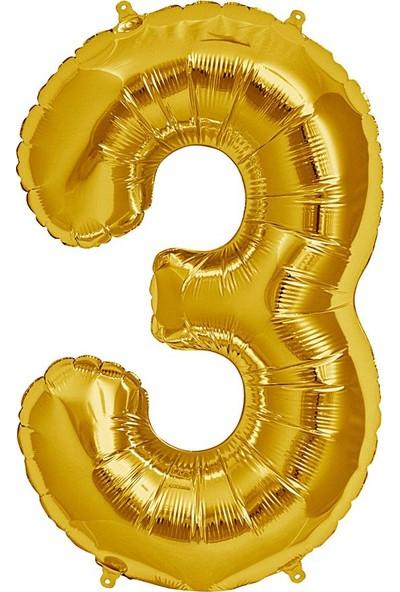 Buldum Folyo Balon 3 Rakamı Altın 100 cm 3 Rakam Buldum Folyo Balon