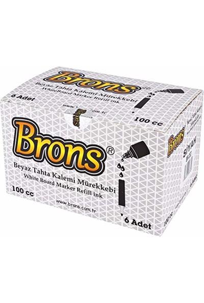 Brons Beyaz Tahta Kalemi Mürekkebi Mavi 100 Cc. Br-354 6'Lı Paket