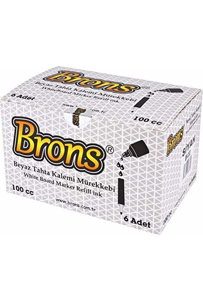 Brons Beyaz Tahta Kalemi Mürekkebi Kırmızı 100 Cc. Br-355 6'Lı Paket