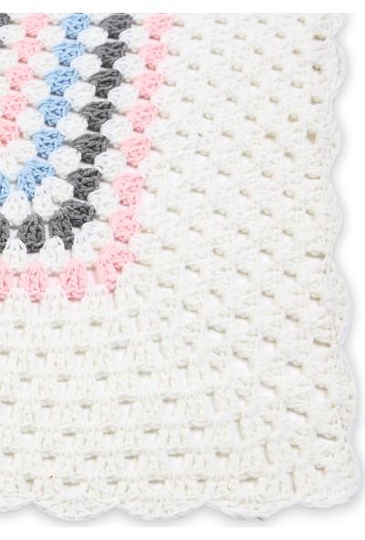 Jale Pembe Beyaz Bebek Battaniye