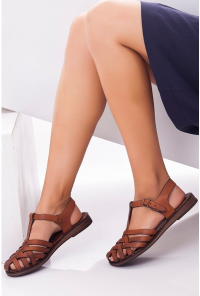 Tarçın Hakiki Deri Taba Kadın Sandalet Ayakkabı TRC70-0067