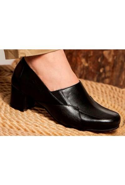 Tarçın Hakiki Deri Siyah Kadın Anatomic Topuklu Ayakkabı TRC71-0276