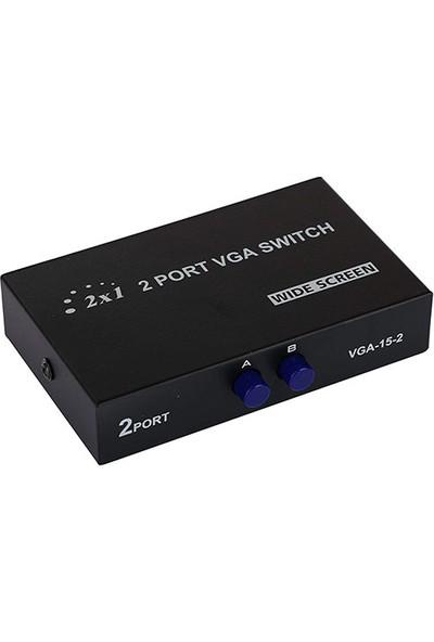 Platoon Vga 2Port Seçmeli Anahtarlı Switch 2 Kasa 1 Mönitör