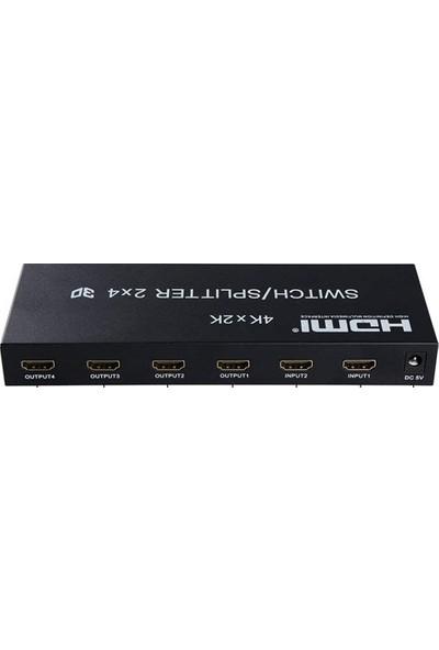 Platoon Hdmı 2X4 Switch/Splitter 1.4B Hdmı Matrix Ses Video Dönüştürücü