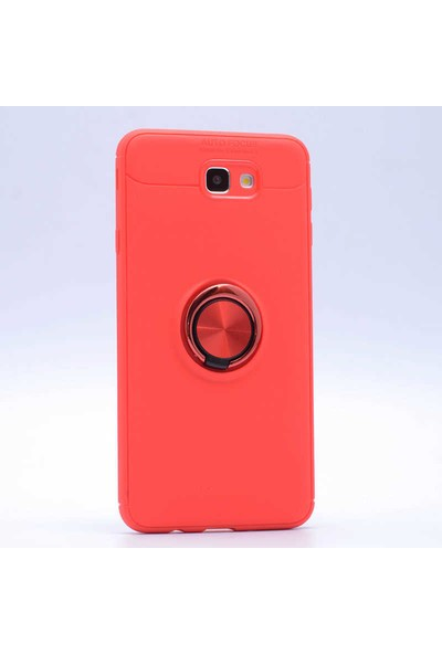 Jopus Samsung Galaxy J7 Prime Kılıf Ultra Korumalı Yüzüklü Standlı Ravel Silikon - (Kırmızı) + Nano Ekran Koruma