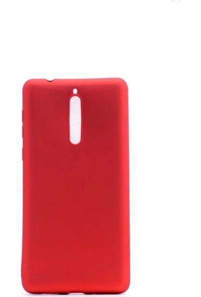 Jopus Nokia 8 Mat Premium Silikon Kılıf - Kırmızı + Nano Ekran Koruyucu
