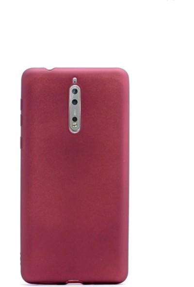 Jopus Nokia 8 Mat Premium Silikon Kılıf - Bordo + Nano Ekran Koruyucu