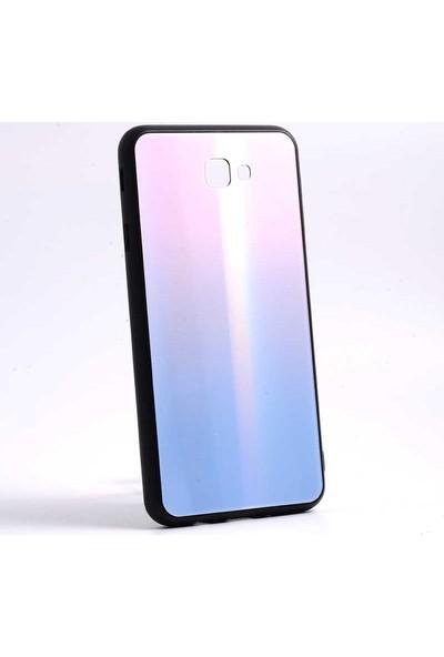 Jopus Samsung Galaxy J7 Prime Kılıf Gökkuşagı Desenli Friz Kapak - Pembe + Nano Ekran Koruyucu