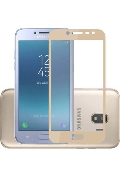 Jopus Samsung Galax J4 5D Nano Tam Kaplayan Ekran Koruyucu - Gold + Şeffaf Silikon Kılıf