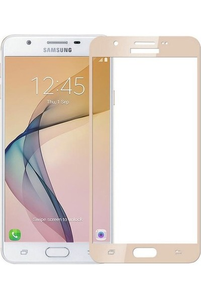 Jopus Samsung Galax J7 Prime 5D Nano Tam Kaplayan Ekran Koruyucu - Gold + Şeffaf Silikon Kılıf
