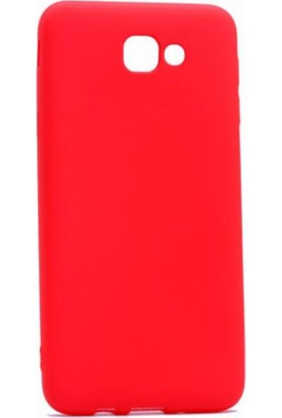 Jopus Samsung Galaxy J7 Prime 2 Mat Premium Silikon Kılıf - Kırmızı + 5D Nano Ekran Koruyucu Gold
