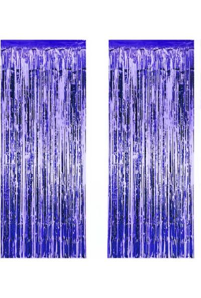 Elite Kapı Perdesi Kapı Banner Fon Süsü Metalize Lacivert 2 li Set 50 x 230 cm