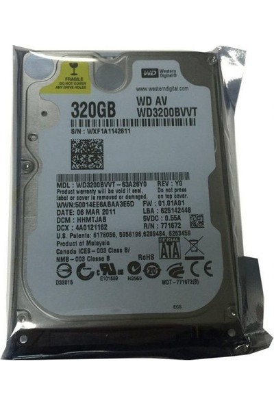 "Wd 2.5"" 320Gb Sata 3.0 5400Rpm 8Mb Notebook Harddisk Hdd Performans Serisi (Wd3200Bvvt)"