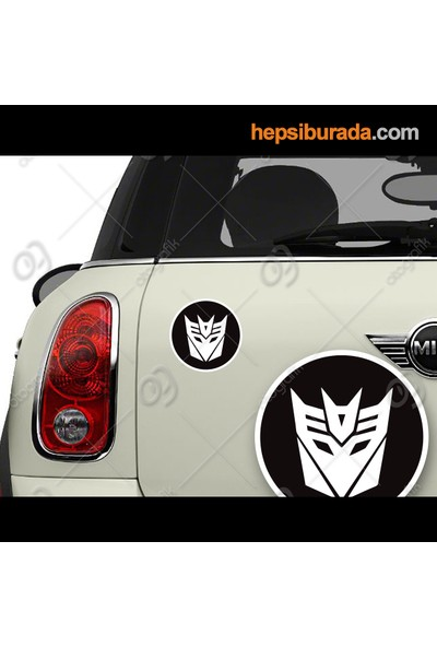 Otografik - Dıceptıcon Transformers Arma Logo Oto Sticker 8 cm Çap (1 Çift)