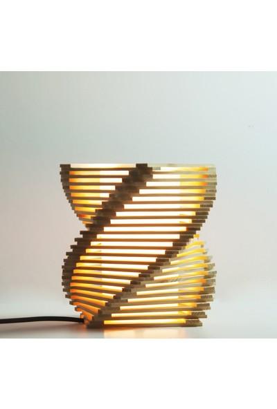 Doğal Masif Ahşap Spiral Abajur - El Yapımı Masa Lambası