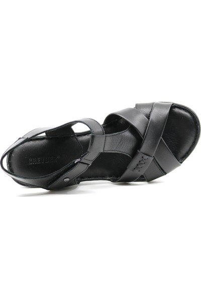 Greyder 57070 Hakiki Deri Dolgu Topuk Kadın Sandalet
