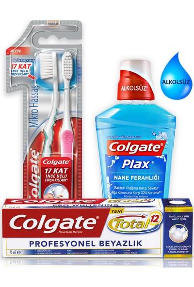 Colgate Diş Macunu Total Pro Beyazlık 75ml+Diş Fırçası+Gargara
