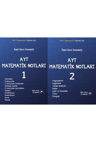 AYT Matematik Notları 1 - 2 Set