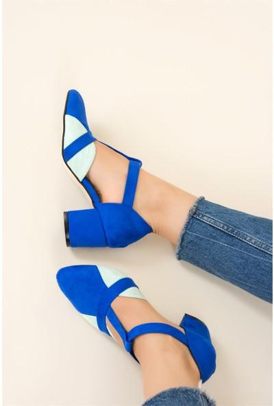 Fox Shoes Saks Mavi Su Yeşili Kadın Topuklu Ayakkabı F704590402