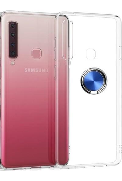 Casestore Samsung Galaxy A9 2018 Kılıf Ultra Lüx Araç İçi Mıknatıslı Yüzüklü Şeffaf TPU Kılıf