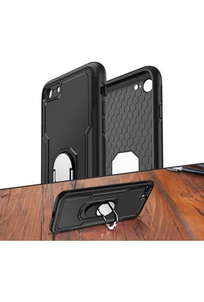 Casestore Apple iPhone 6 Plus & 6S Plus Kılıf Ultra Lüx Bonbon Yüzüklü Standlı Tank Kılıf + Ekran Koruyucu Cam