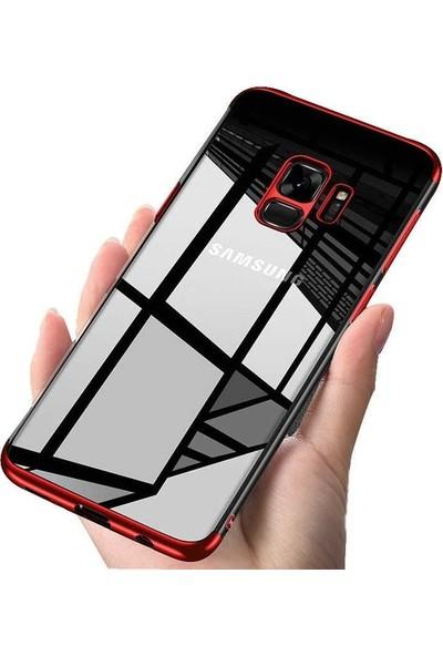Casestore Samsung Galaxy S9 Plus Kenarları Renkli Lazer Silikon Kılıf + Nano Ekran Koruyucu