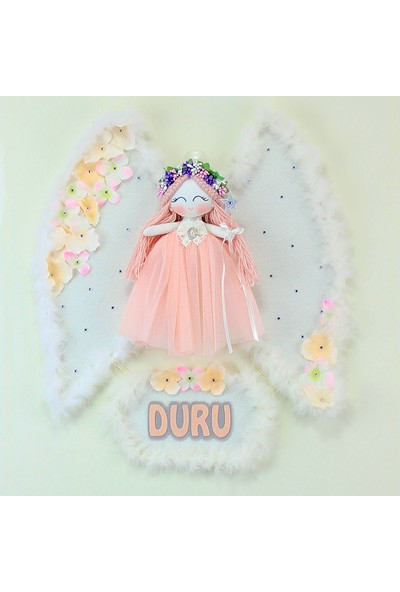 Renkli Hayallerim Kardelen Melek Kanatlı Kız Bebek Kapı ve Duvar Süsü