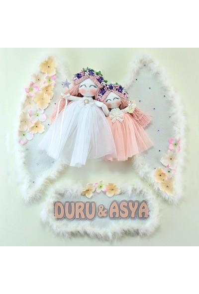 Renkli Hayallerim Petunya 2li Melek Kız Bebek Kapı Süsü