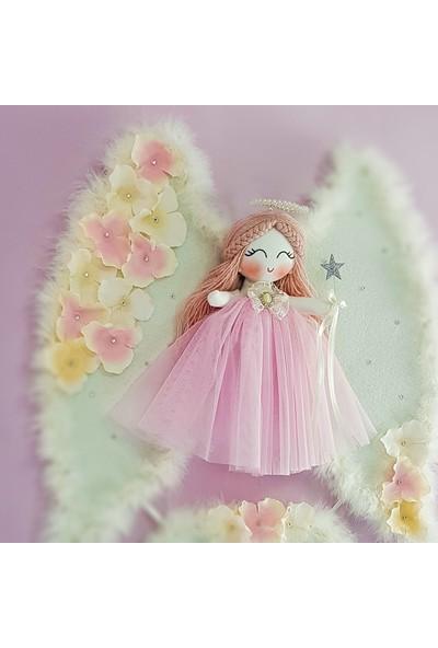 Renkli Hayallerim Açelya Melek Kanatlı Kız Bebek Kapı ve Duvar Süsü