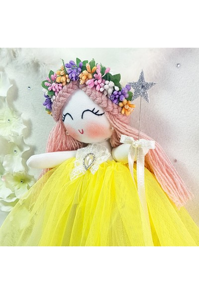 Renkli Hayallerim Orkide Melek Kanatlı Kız Bebek Kapı Duvar Süsü