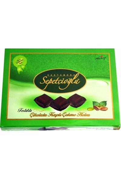 Sepetçioğlu Antep Fıstıklı Çikolata Kaplı Çekme Helva Vakumsuz 420 gr