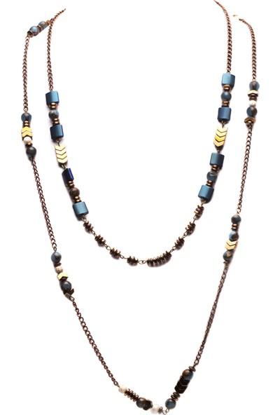 Amulette Jewel Havlit Taşlı Antik Kolye