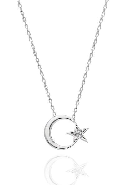 İpek Silver H450 Gümüş Ay Yıldız Kolye