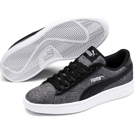 73959a6c Puma Smash V2 Glitz Glam Siyah Gri Kadın Sneaker Ayakkabı