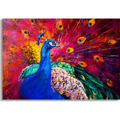 Diji Kanvas Tavus Kuşu Yağlı Boya Kanvas Tablo Fiyatı