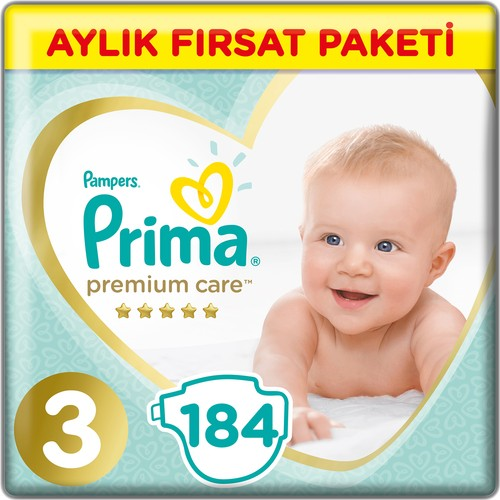 Prima Bebek Bezi Premium Care 3 Beden 184 Adet Midi Aylık Fırsat Paketi