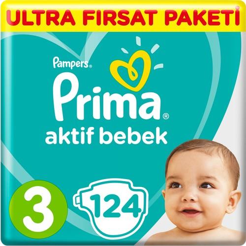 Prima Bebek Bezi Aktif Bebek 3 Beden 124 Adet Midi Ultra Fırsat Paketi