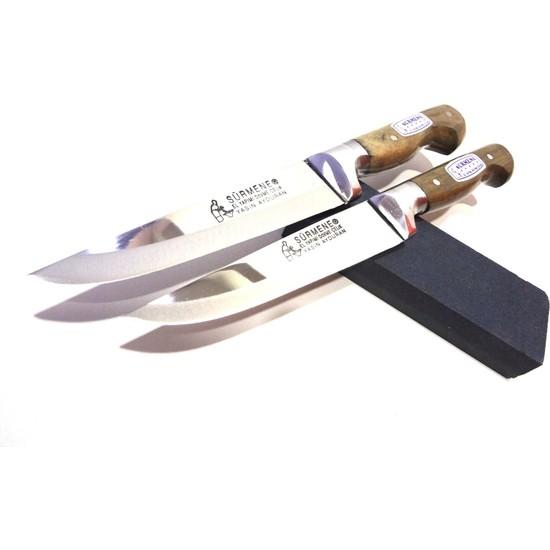 Mutfak Bıçak Seti 2'li Sürmene Lazoğlu Bilezikli Soğuk Mühür (Bileme Taşı Hediye)