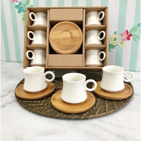 Shaddy Goods Bambu Tabaklı 6'lı Kahve Fincan Takımı