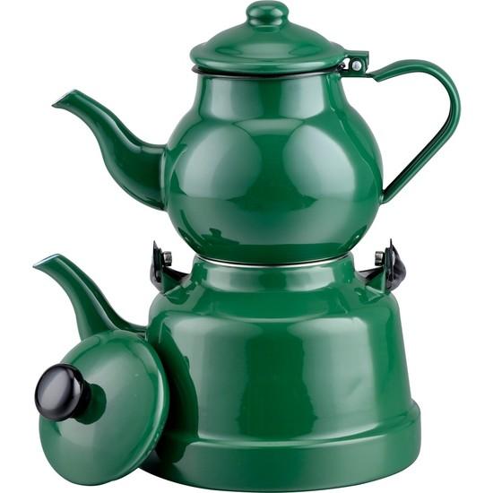 Evim Tatlı Evim Nostaljik Yeşil Emaye Çaydanlık Takımı 2,5 + 1,1 lt
