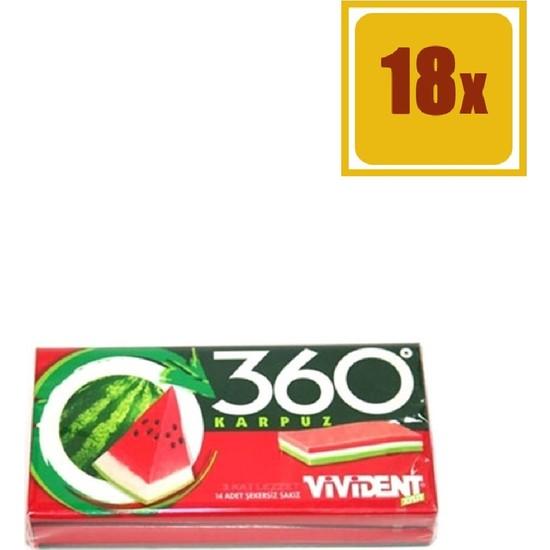 Vivident 360 Cüzdan 3D Karpuz Aromalı Sakız 33 gr 18'li Set