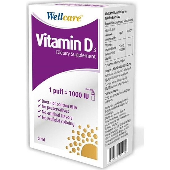 Wellcare Vitamin D3 1000'LÜ 5 ml