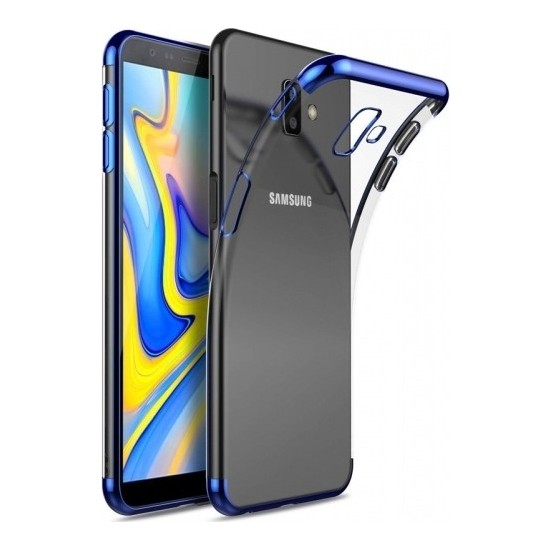Casestore Samsung Galaxy J6 Plus Kenarları Renkli Lazer Silikon Kılıf + Nano Ekran Koruyucu