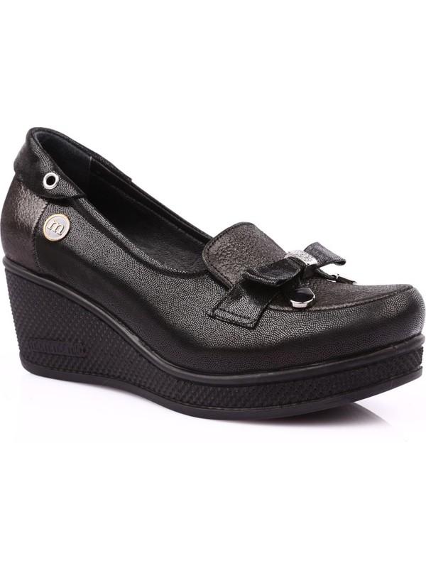 Mamma Mia D19Ya-3055 Kadın Günlük Ayakkabı Siyah Saten