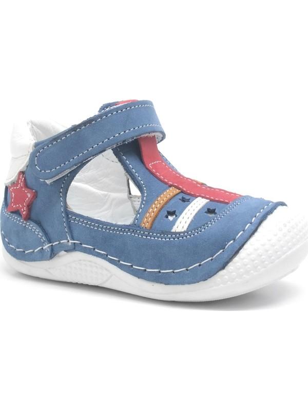 Şeker Bebe Mavi Hakiki Deri Yazlık Erkek Bebek Spor Ayakkabı