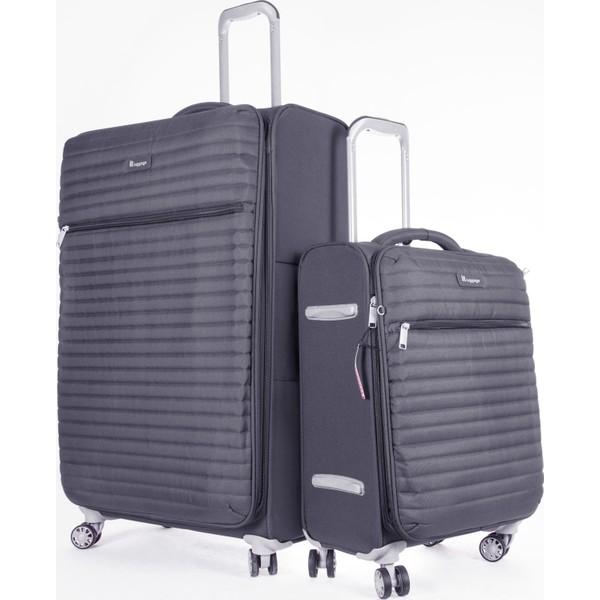 1a7ddb8cb1306 It Luggage Büyük Ve Kabin 2'Li Valiz Seti Kumaş Gri 2148 Fiyatları ...